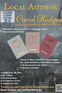 Carol Hedges poster talk event
